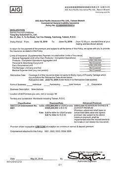 - USD 1 Million Product Liability Insurance