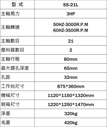 SS-21L/SS-35F產品規格