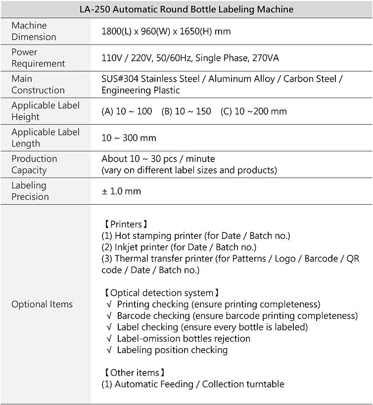 LA-250-Automatic Round Bottle Labeling Machine (Positioning type)