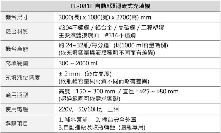 自動8頭迴流充填機 (液位等高) FL-081F