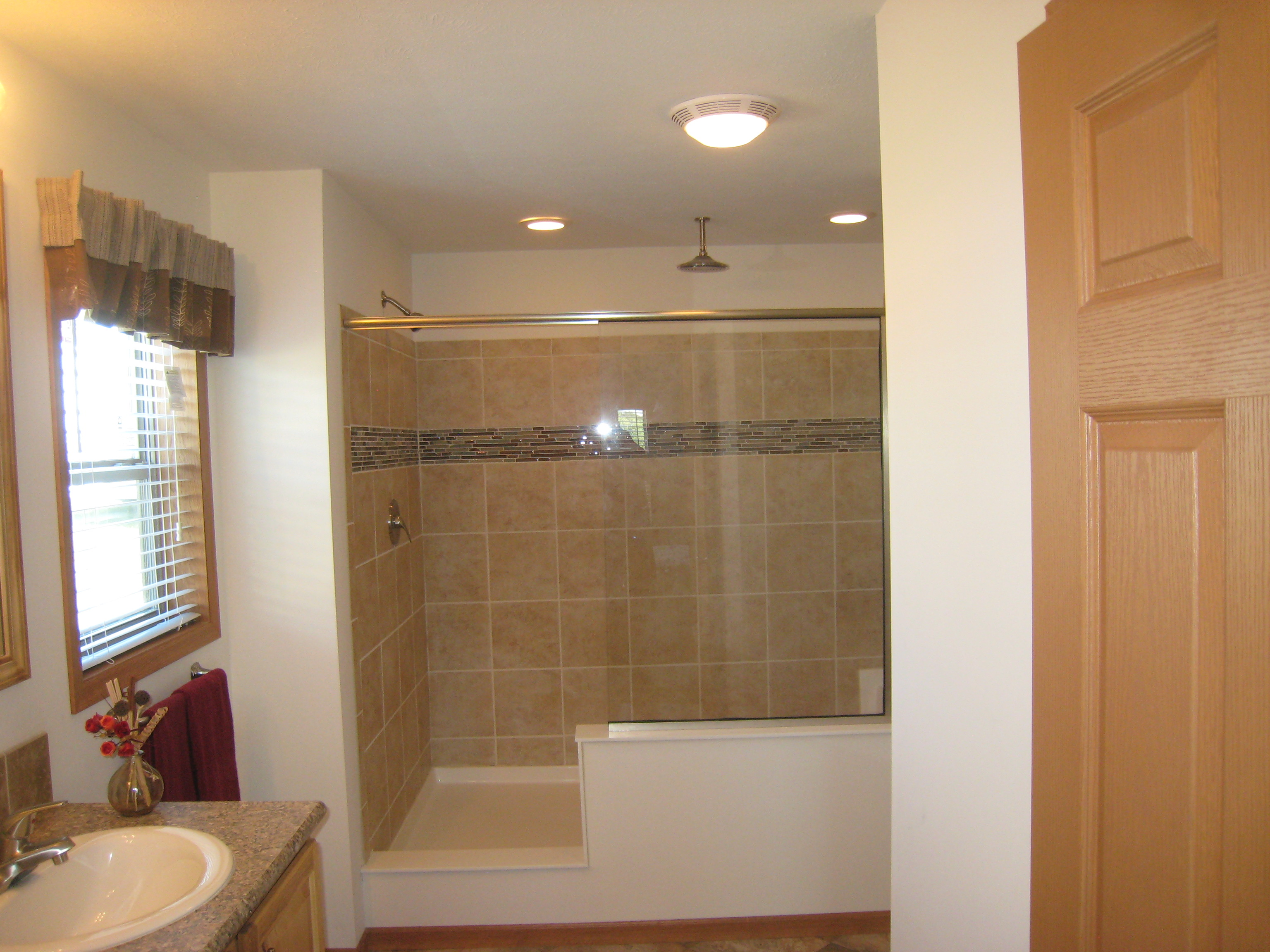 4' X 8' Waterfall Shower w/ Bench