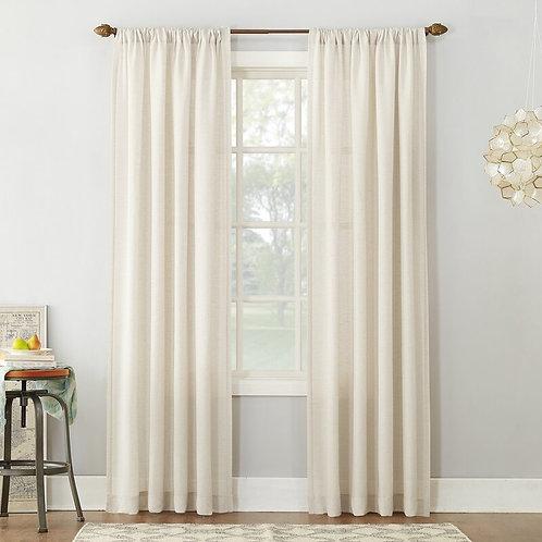 Berwick Linen Blend Solid Semi-Sheer Rod Pocket Single Curtain Panel
