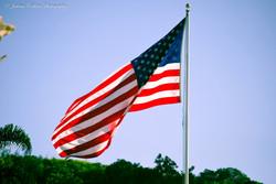 U.S. flag soaring on military base