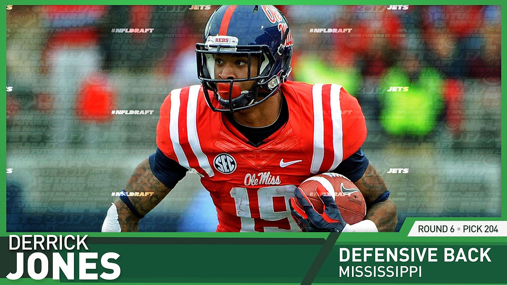 Ole Miss' DB Derrick Jones was selected as the 204th pick by the New York Jets in the 2017 NFL Draft.
