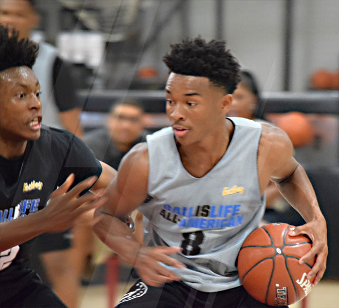 Jaylen Hands and Collin Sexton face off during practice today for the Ballislife All-American Game.