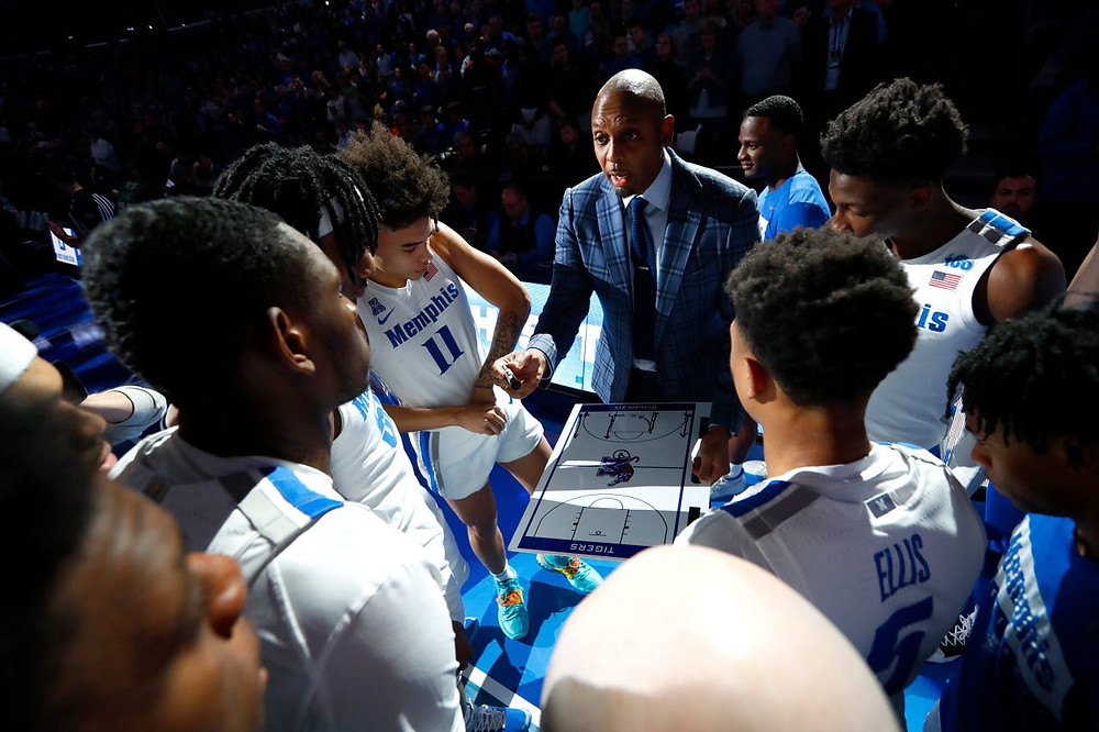 Memphis Tigers Head Coach Penny Hardaway talks to his team before they take on the South Florida Bulls at the FedEx Forum on Saturday, Feb. 8, 2020.