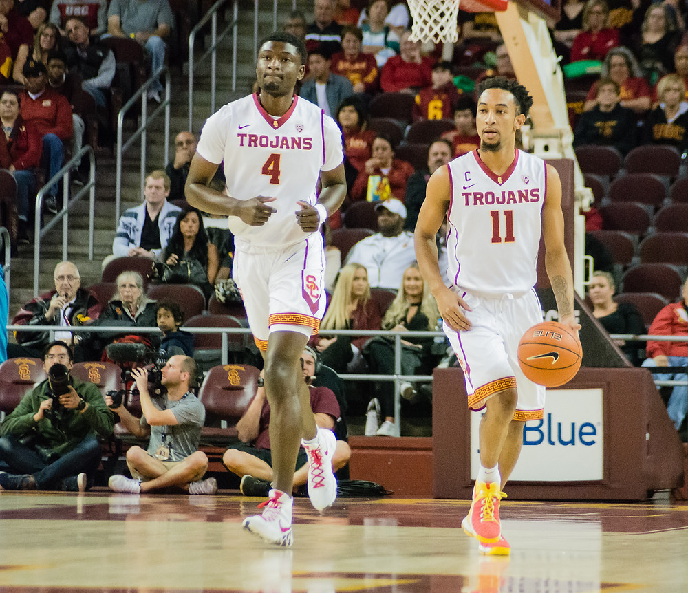 Two of USC's prominent players from tonight's matchup against Troy, Chimezie Metu and Jordan McLaughlin.
