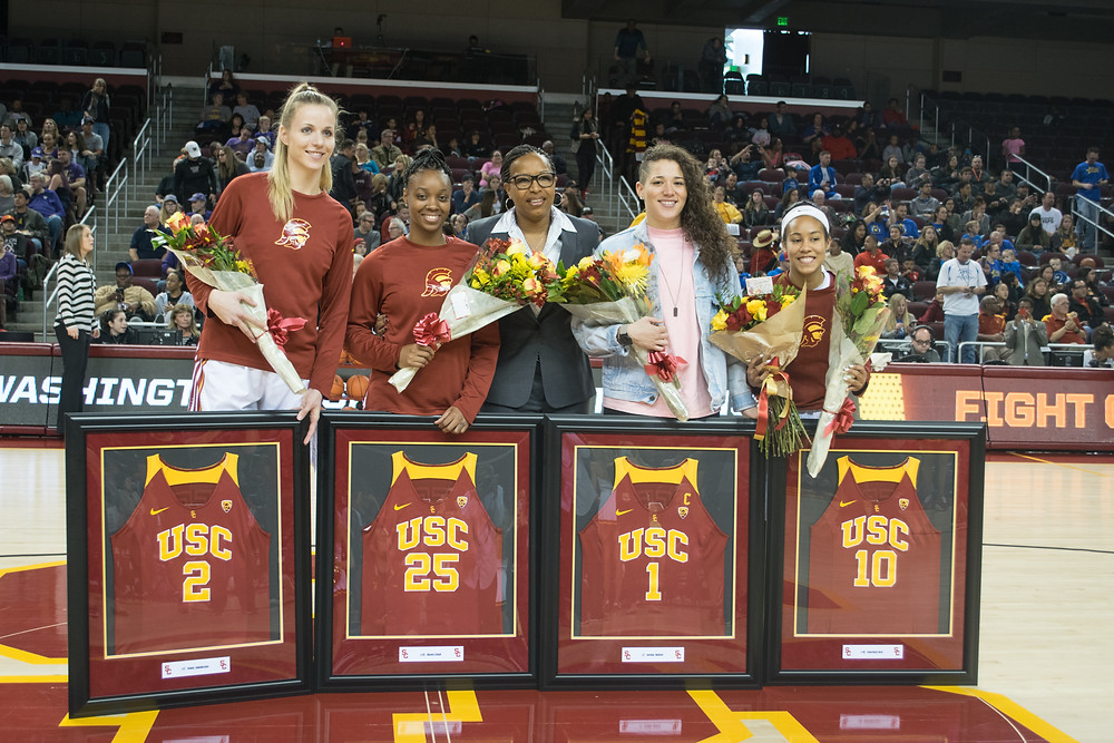 USC honors their seniors during a game against the Washington Huskies on Feb. 19, 2017.