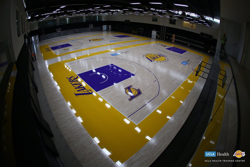 Two courts with the fresh painted purple and gold.