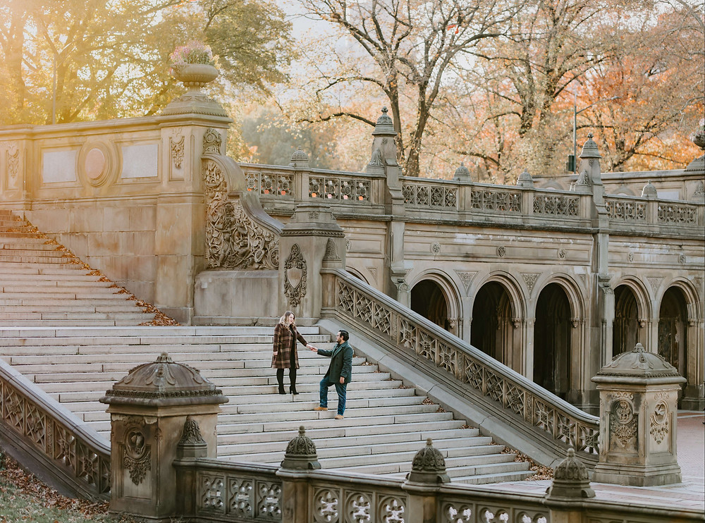 Couple stair terrace in Central Park