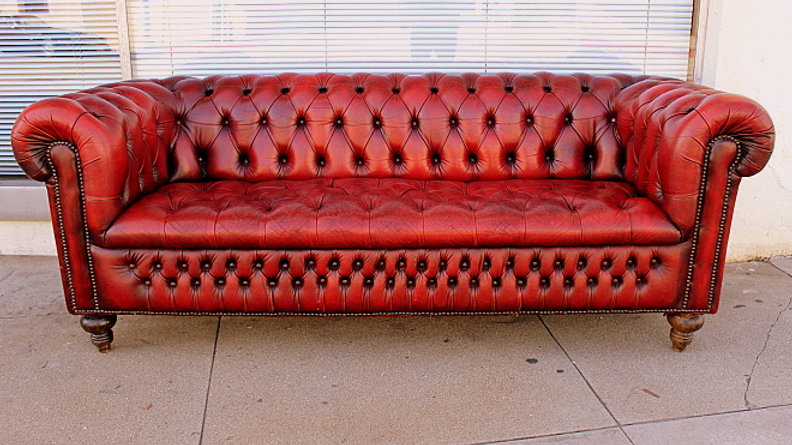 Oxblood Color Leather Tufted Chesterfield