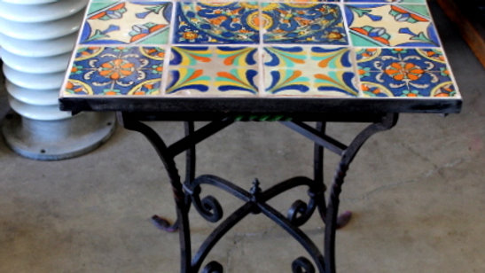 Vintage Wrought Iron Tile Top Table