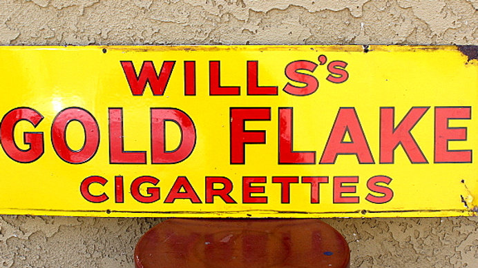 Heavy Old Porcelain Cigarette Sign