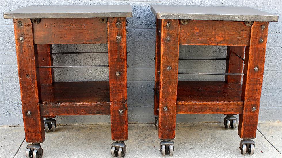 Pair Industrial Turtle Tables