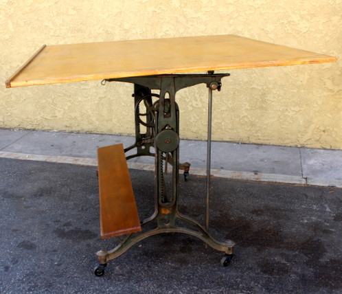 Great Vintage Mechanical Iron Base Drafting Table. Wood Top Is Probably  More Recent. Table Ht. Adjusts When Horizontal From A Low Of Approx.