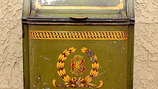 Old Painted  Coffee or Tea Tin Container
