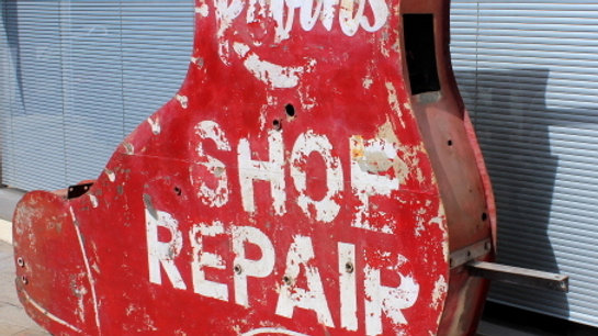 Old Neon Boot, Shoe Repair Sign