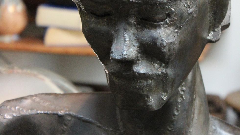 Welded Steel Sculpture of Perky Woman