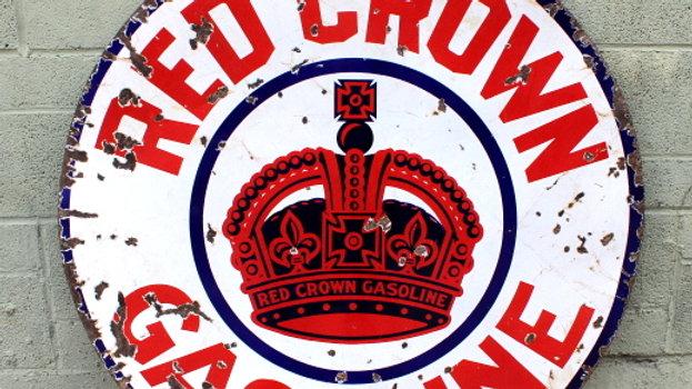 Porcelain Red Crown Gasoline Sign