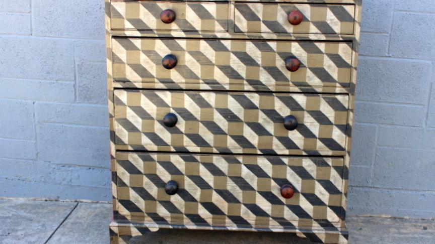 Antique Pine Chest Painted Escher Style