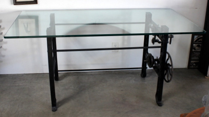 Industrial / Modern Glass Top Table