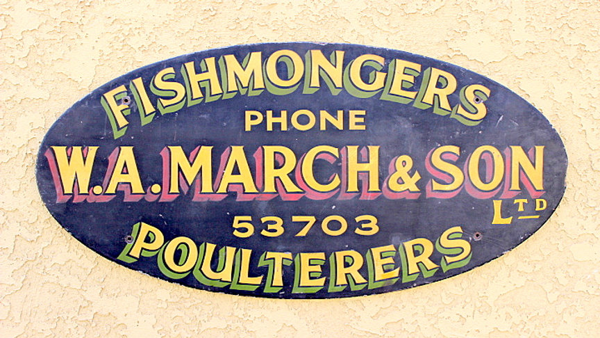 Antique British Fishmongers Wooden Sign