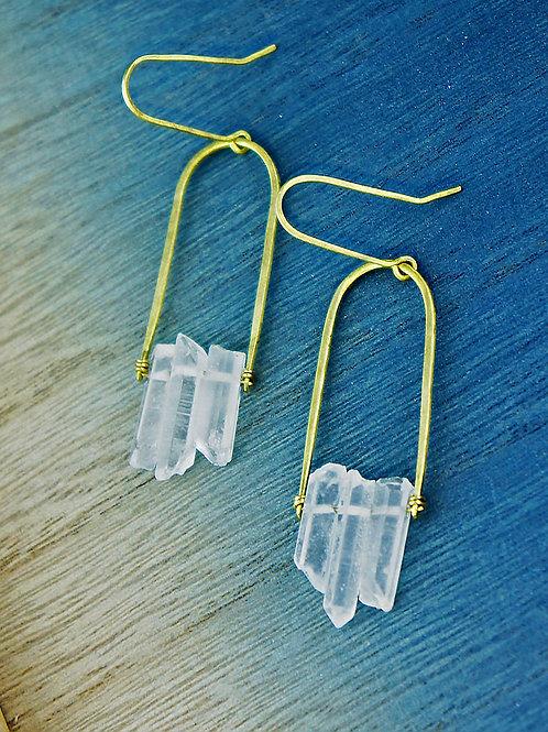 Three Quartz Swing Earrings