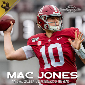 Mac Jones Named National Collegiate Quarterback of the Year