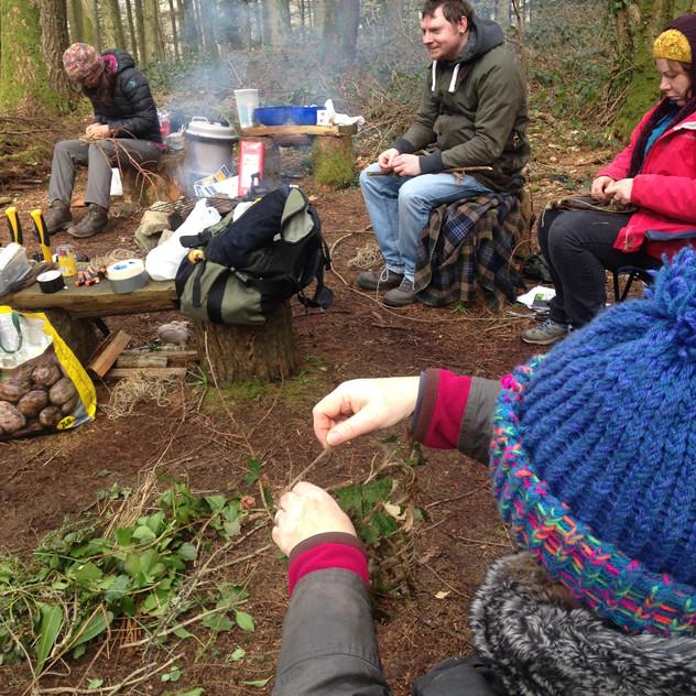 practicing nature weaving