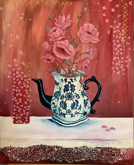 Blue and white jug with Roses