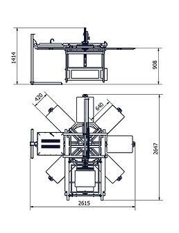 Silkograph Silkomate™ Sweepcrane™ 8'1 - карусельный трафаретный станок с полуавтоматическим приводом каретки на 8(1) столов (шелкография) - схема