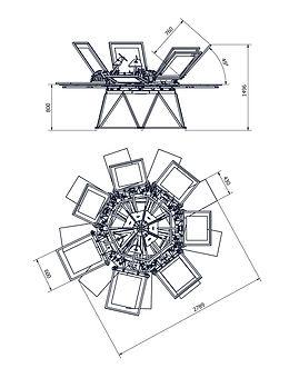Silkograph Screenhand 7Х9 - карусельный трафаретный станок 9 столов (шелкография), печать на футболках - схема