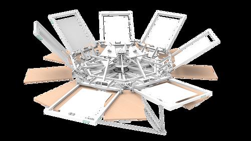 Silkograph Screenhand™ 7Х9 - карусельный трафаретный станок 9 столов (шелкография), печать на футболках