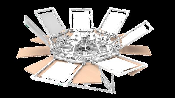 Silkograph Screenhand 7Х9 - карусельный трафаретный станок 9 столов (шелкография), печать на футболках