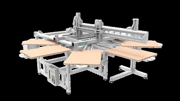 Silkograph Silkomate™ Sweepcrane™ 8'1 - карусельный трафаретный станок с полуавтоматическим приводом каретки на 8(1) столов (шелкография)