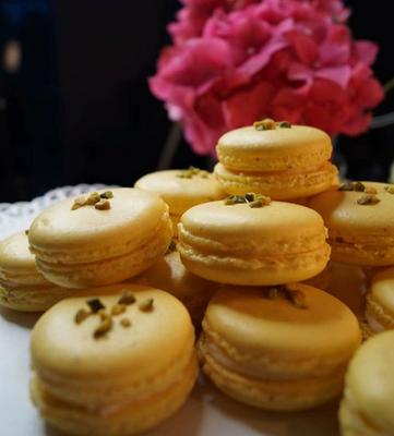 Vanille Macarons mit Pistazien