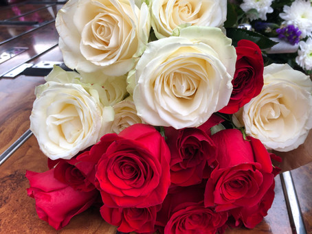 Individual Red & White Roses.