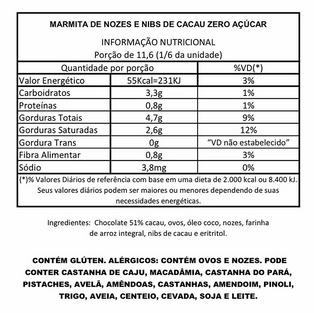 Marmita de Nozes e Nibs de Cacau Zero Açúcar