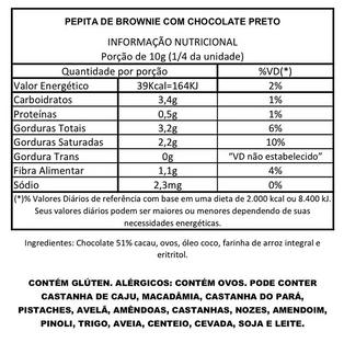 Pepita de Brownie com Chocolate Preto