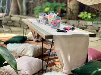 Dillon Benches serving as a bow making table for a sweet babyshower.