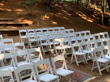Wedding Ceremony setup at Old Mill Park in Mill Valley.