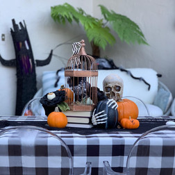 Tabletop decor for Halloween Party in San Anselmo, provided and styled by Celebrations.