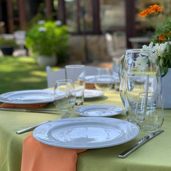 Tuxton plates along with some of our glassware and silverware.