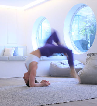 fall from yoga inversion headstand