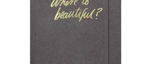 "Blushing Confetti Charcoal Linen Travel Journal ""Where to Beautiful"""