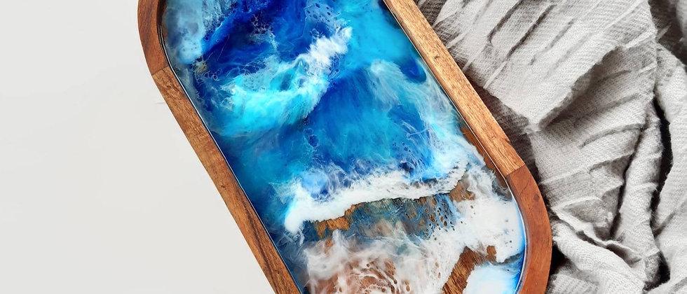 Resin art raised serving board