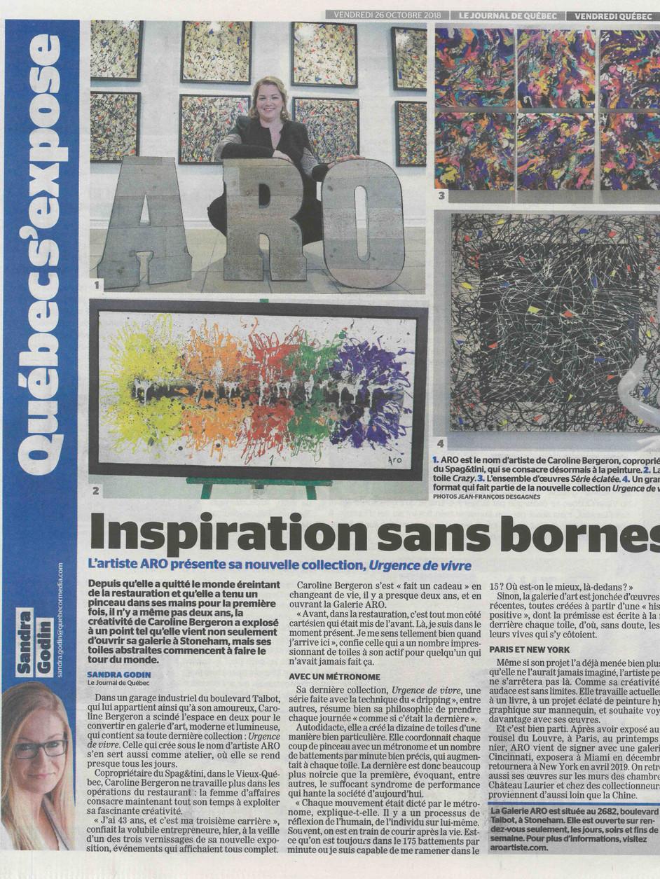 Journal de Québec- Rubrique Spectacles/Sorties | 26/10/2018