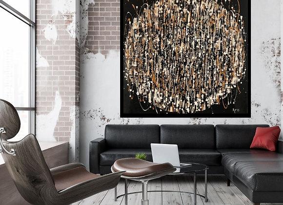 Oeuvre originale abstraite Célébrons la vie 36x36 Aro artiste peintre