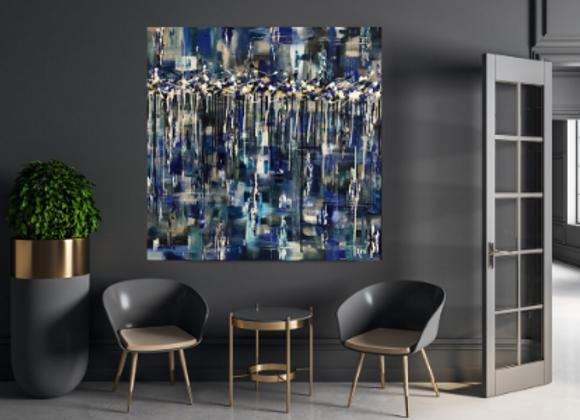 Œuvre originale abstraite Dans l'univers 36x36 Aro Artiste Peintre