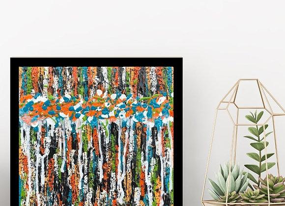 Œuvre originale abstraite Rétrospective 12x12 Aro Artiste Peintre